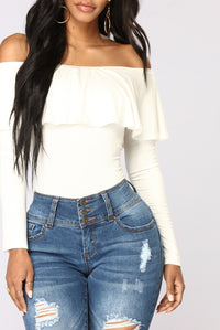 Electric Love Off Shoulder Top - Ivory Angle 3