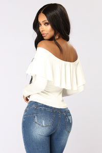 Electric Love Off Shoulder Top - Ivory Angle 5