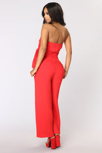 Tell The World Tie Jumpsuit - Red