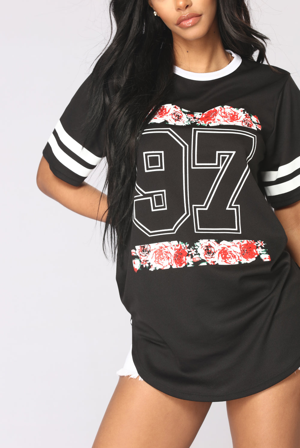 Floral Game Time Tee - Black