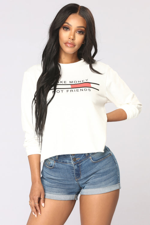 Make Money Not Friends Sweater - Ivory