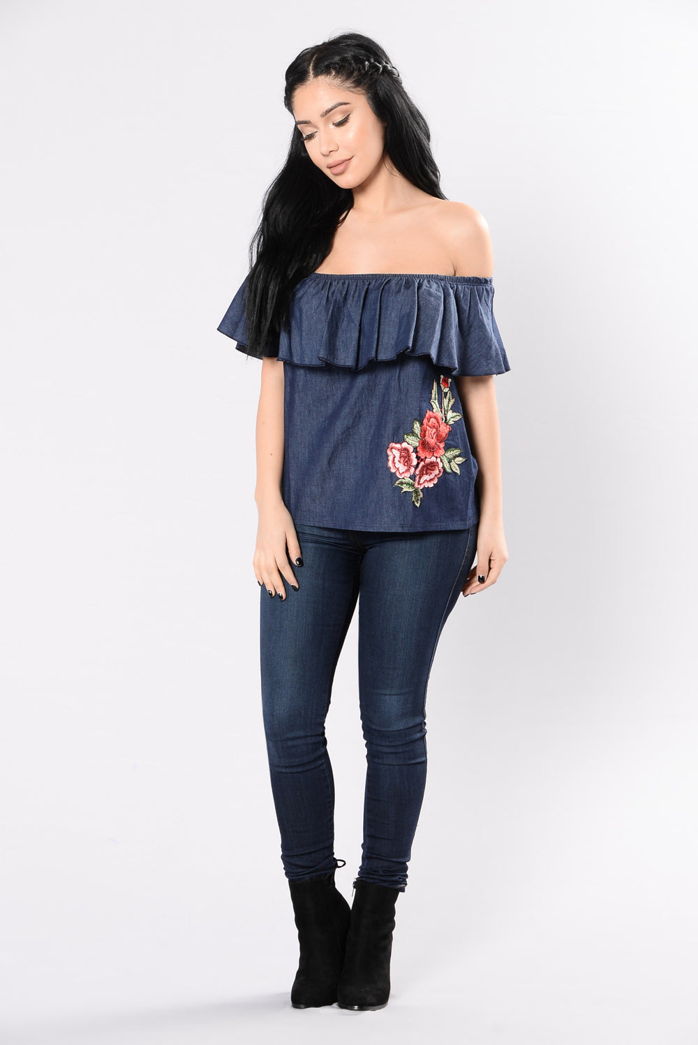 Carolina Rose Top - Dark Denim