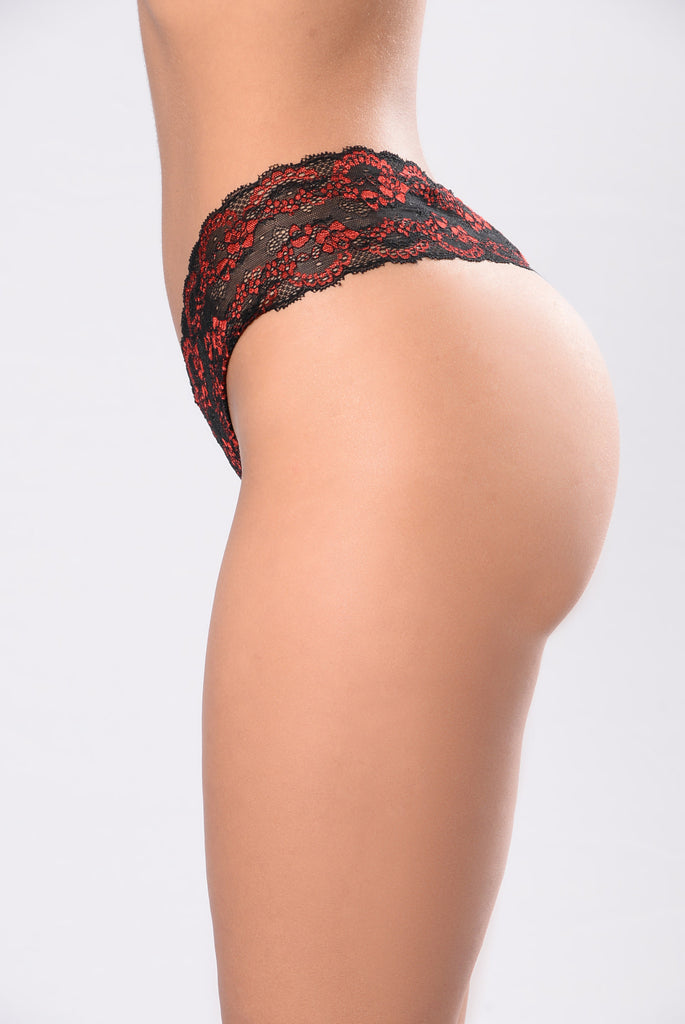 For Someone Special Thong Panty - Black/Red