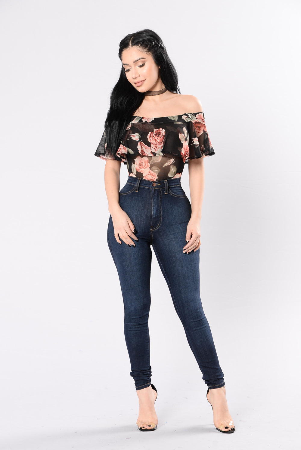 Wild Flowers Bodysuit - Black