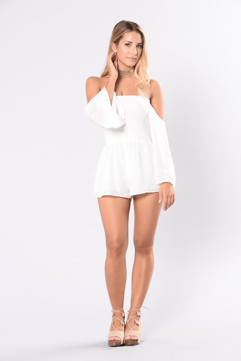 Just Need Your Touch Romper - Ivory
