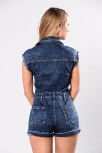 Back On That Grind Romper - Dark Wash
