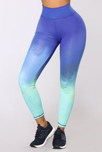 Came Up Quick Active Leggings - Blue/Green