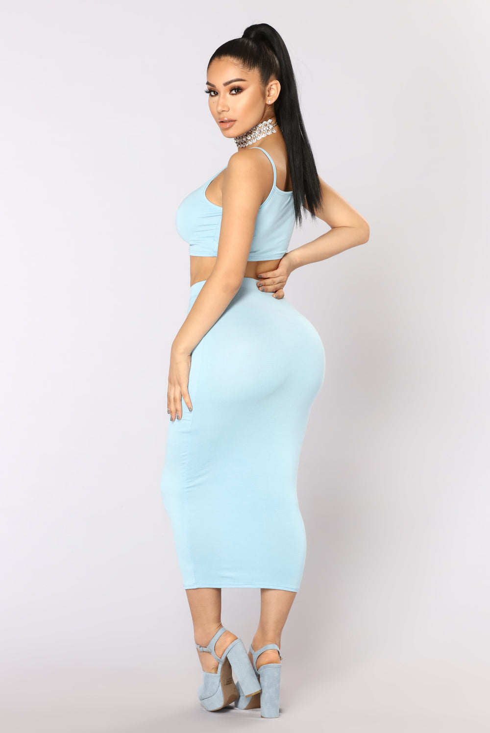 No Manners Skirt Set - Baby Blue