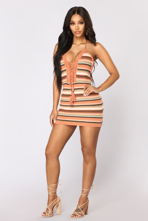 Trinidad Dress - Coral/Taupe