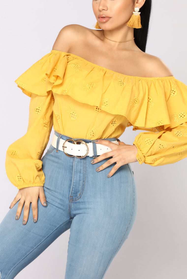 Pineapple Princess Off Shoulder Top - Mustard
