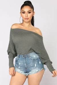 Apres Chic Off Shoulder Sweater - Olive