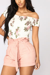 Garden Flower Off Shoulder Top - White/Red