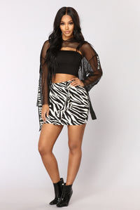 Untamable Mini Skirt - White/Black