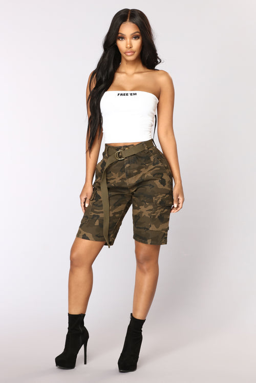 Cadet Kate Oversized Camo Shorts - Olive
