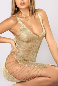 Like A Goddess Midi Dress - Gold