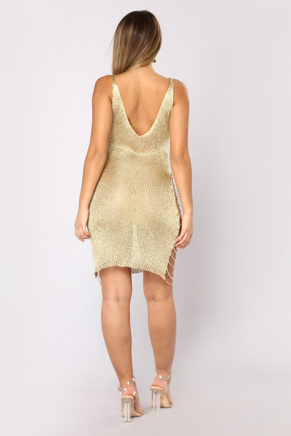 like a goddess midi dress gold