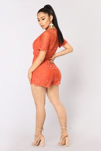Set My Eyes On You Lace Romper - Rust