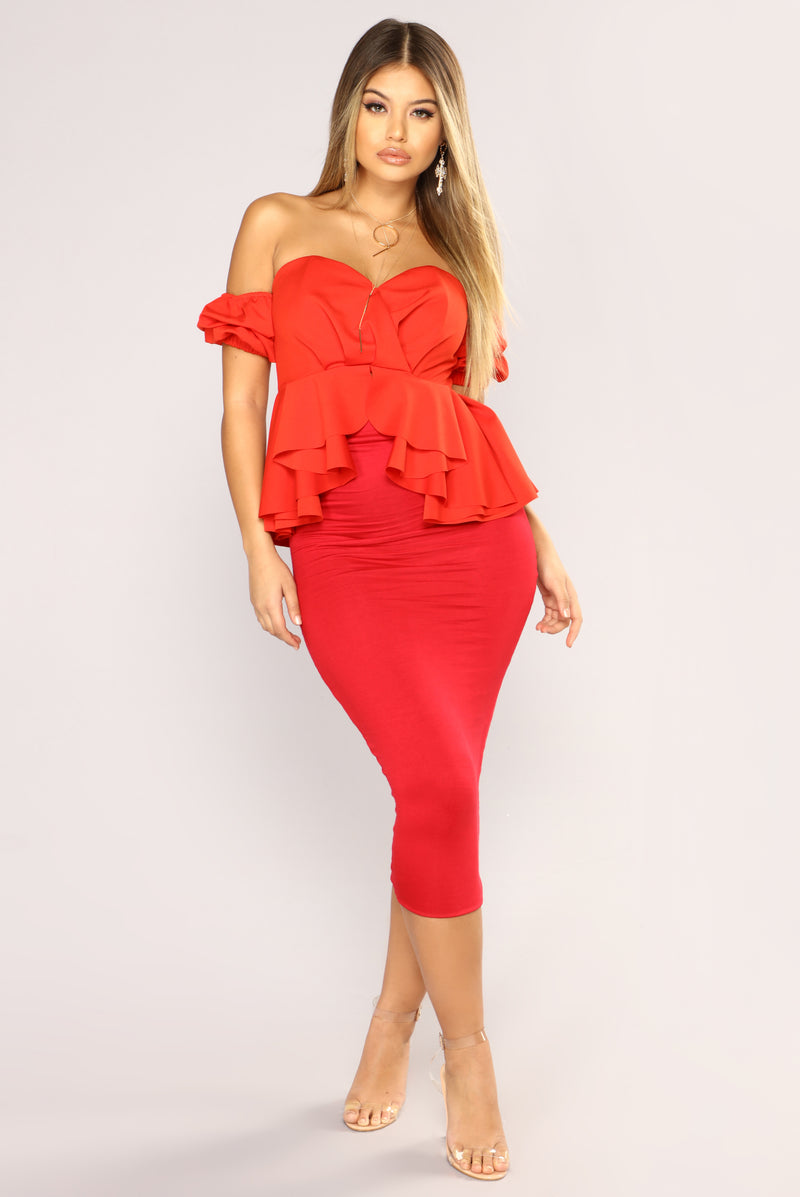 All Of Your Pressure Ruffle Top - Red Orange