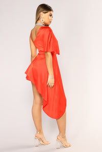 Val Satin Dress - Red