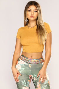 Time For A Change Crop Top - Mustard