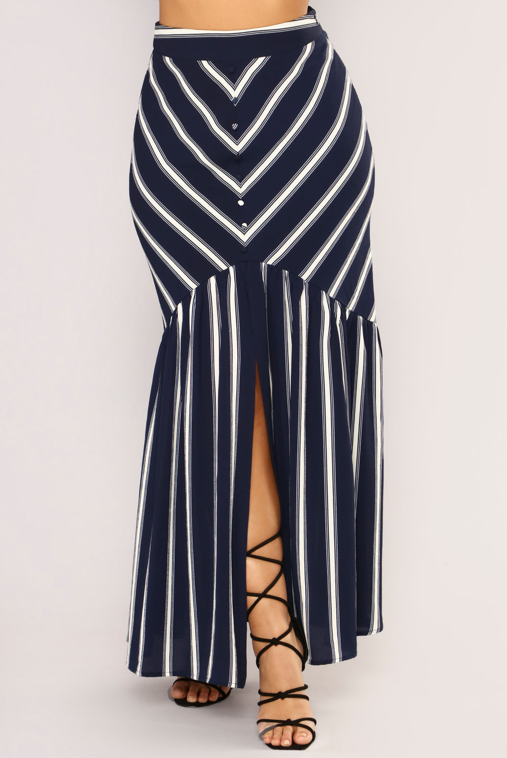 Colour Of Love Striped Maxi Skirt - Navy