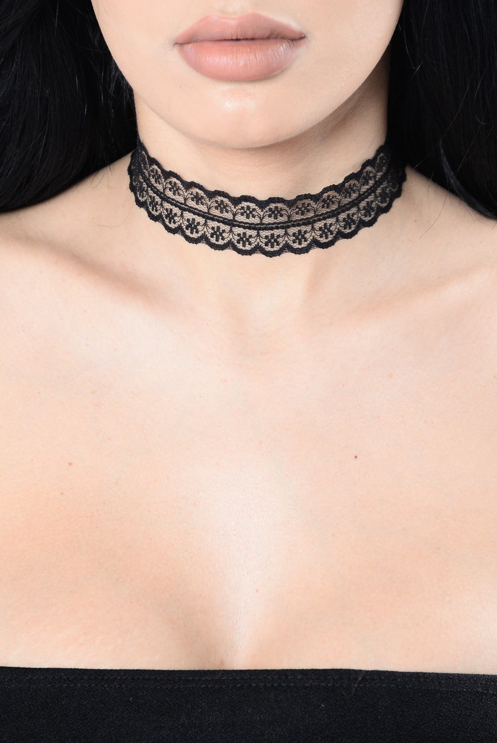 Side To Side Choker Set - Black