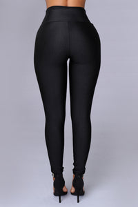 Black Nylon High Waist Leggings - Black