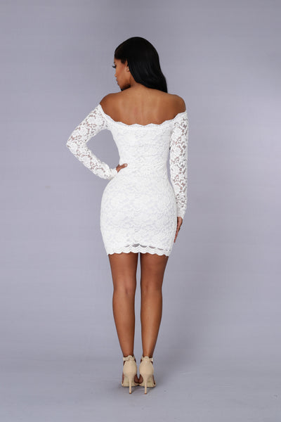 Off Shoulder Lace Bodycon Dress - White