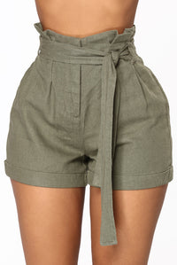 Rays Of Sunshine Linen Shorts - Olive Angle 2