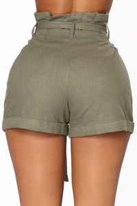 Rays Of Sunshine Linen Shorts - Olive Angle 6