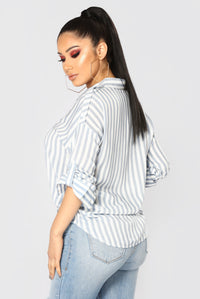 Playin' Games Long Sleeve Top - Blue