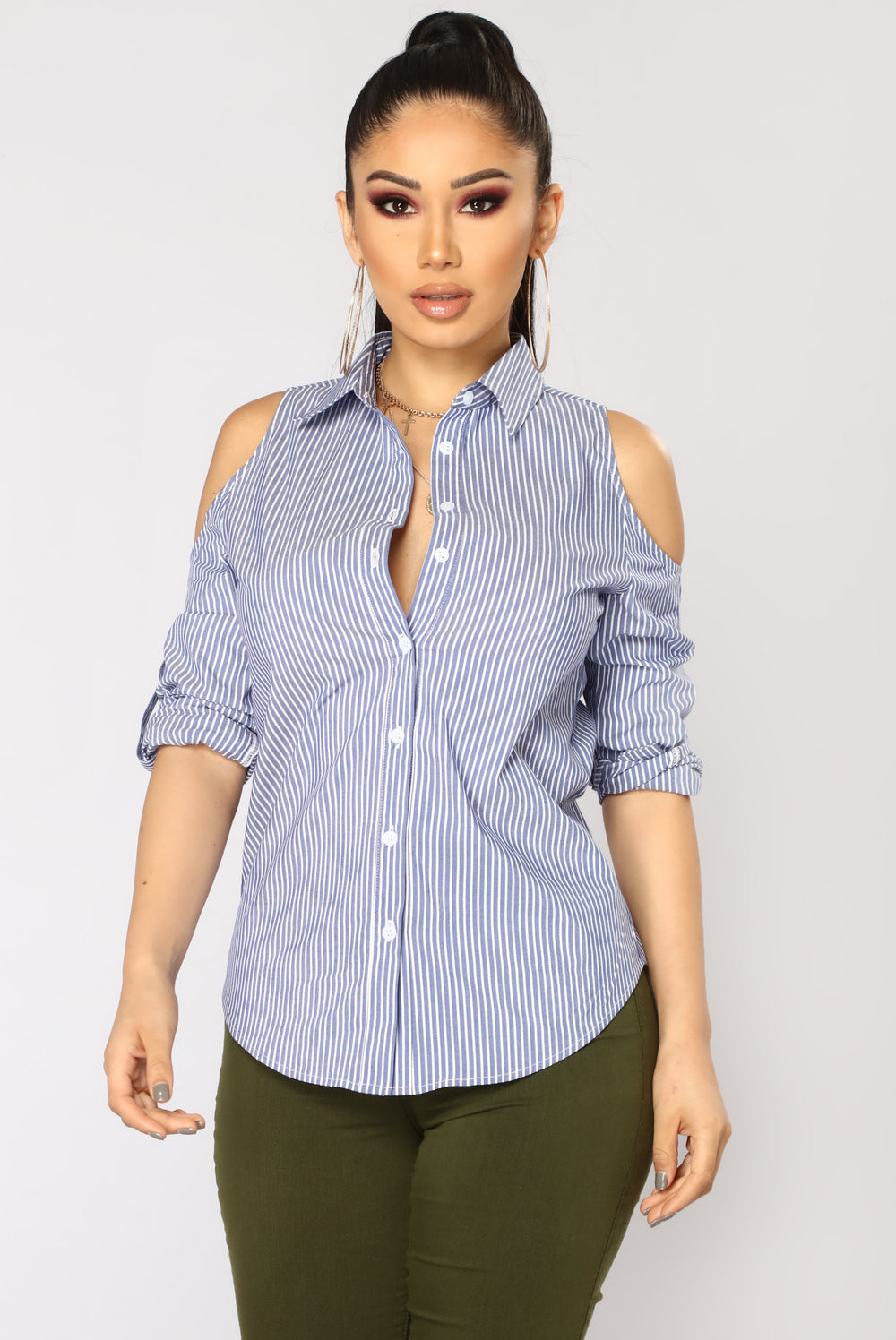 Lilianne Cold Shoulder Top - Blue/White