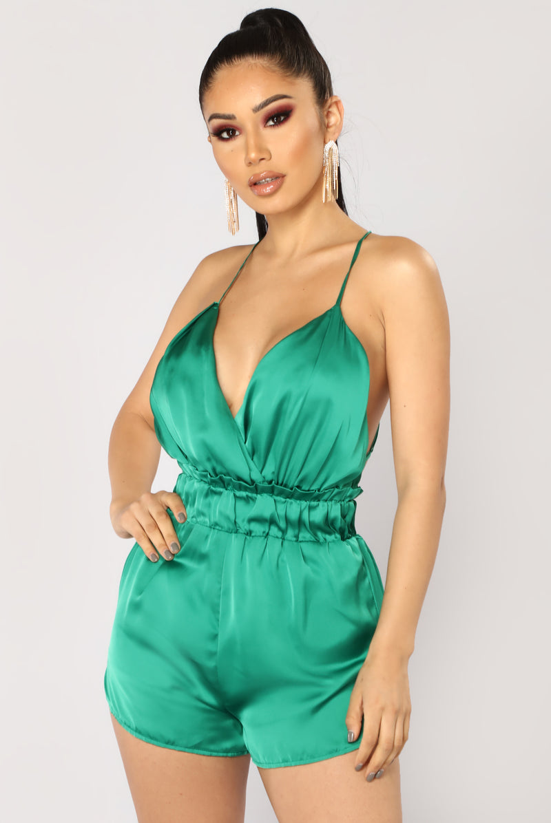 Admire The View Satin Romper - Green