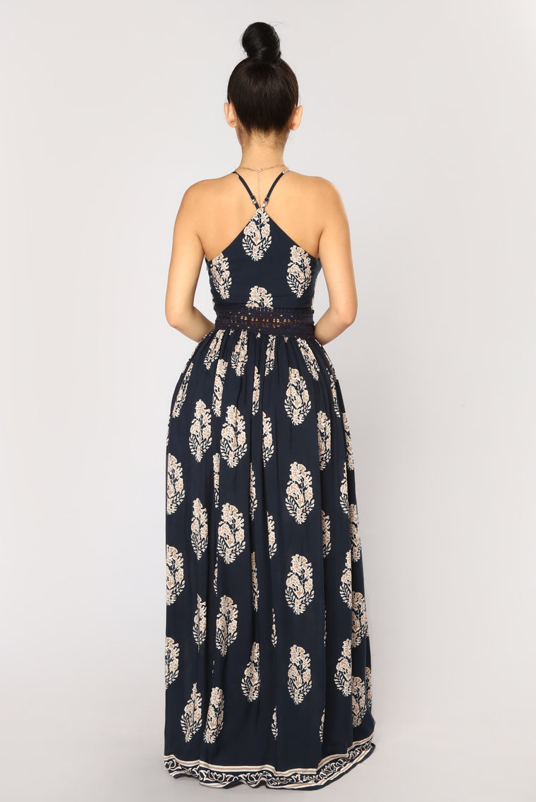 Holy Slit Dress - Navy/Taupe