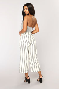 Contrast Striped Jumpsuit - Ivory