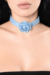 Got The Blues Choker Set - Denim/Black Angle 1
