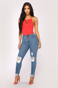 Sofia Lace Up Tank - Red