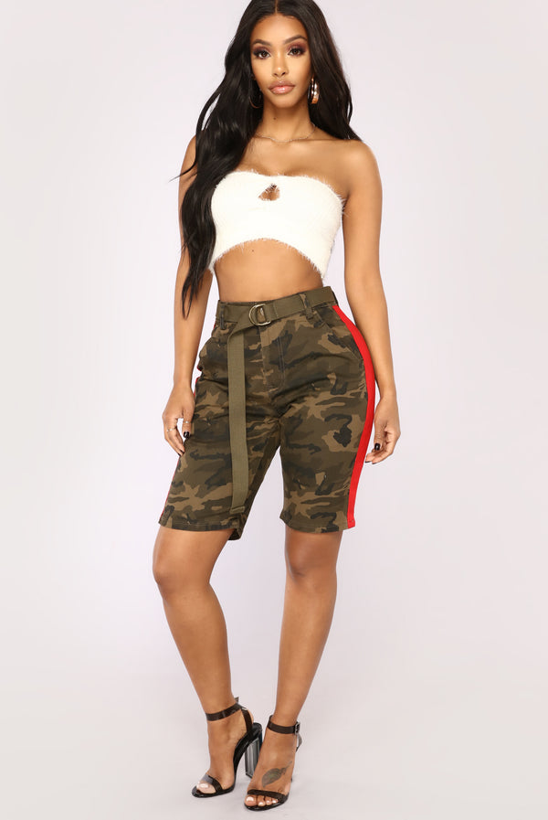 4c3bf51ae20 Cadet Kris Oversized Camo Shorts - Olive Red