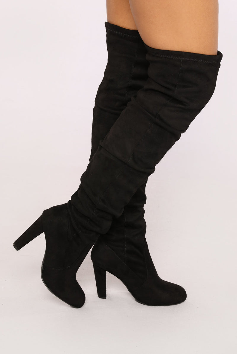 Rich Girl Over The Knee Boot - Black