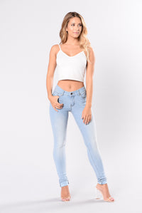 Breaking Necks Booty Lifting Jeans - Light Wash Angle 2