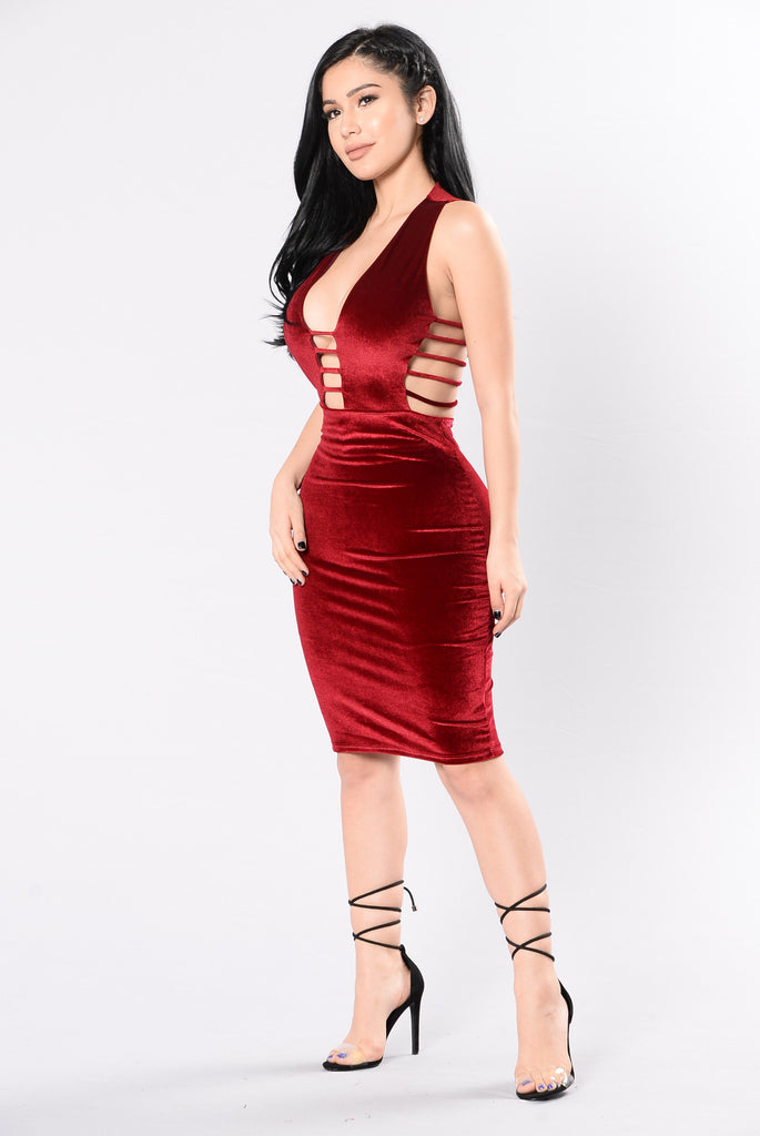 Love Me Harder Dress - Burgundy
