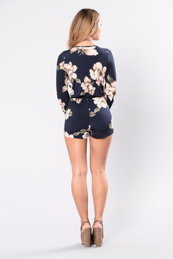 Locked In My Embrace Romper - Navy