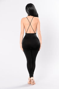 Heart, Keys, and Patience Jumpsuit - Black