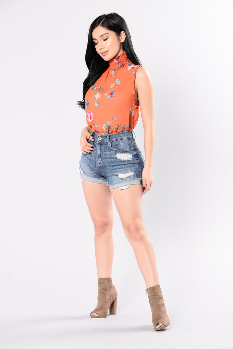 Down To The Root Bodysuit - Tangerine