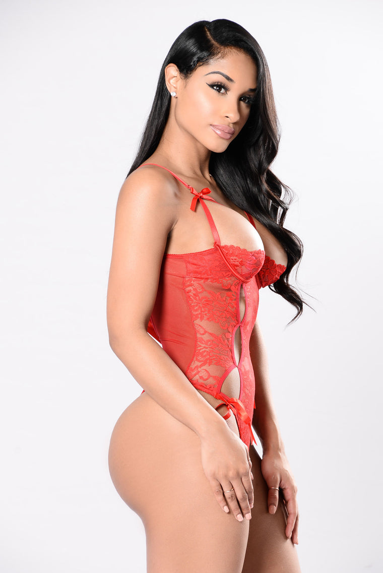 Bold Face Lace Teddy - Red