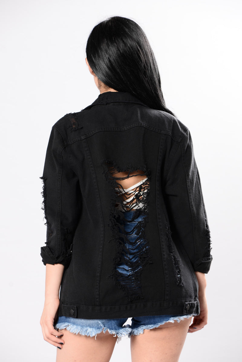 Stereo Love Denim Jacket - Black