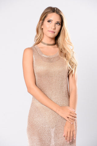 Always On Vacation Cover Up Dress - Rose Gold