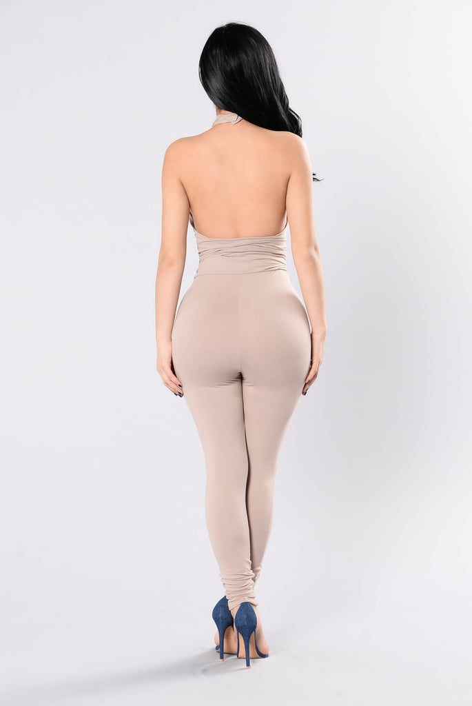Are You Feeling It Jumpsuit - Taupe