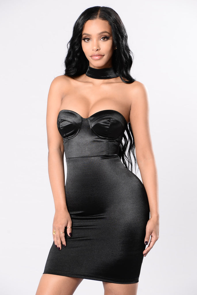 Got Your Man Looking Dress - Black