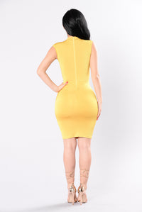 Lesson Learned Dress - Mustard